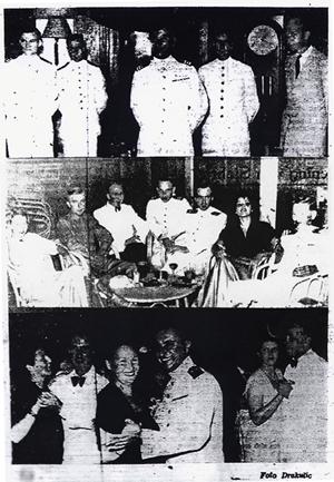 Afscheid van marinesociëteit Modderlust, Soerabaja 1951 Bron: Vrije Pers, 31-1-1951