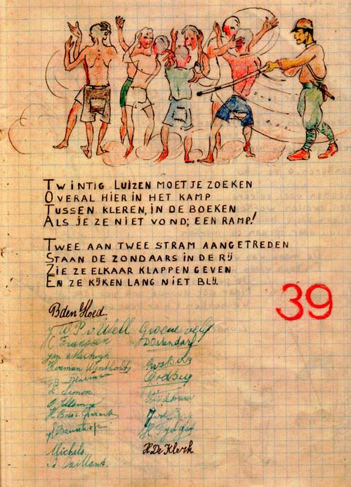 Pagina uit de Kamppest, het blad dat werd gemaakt door geïnterneerden in Tjimahi  Bron: persoonlijke collectie Erven G.A. Schotel