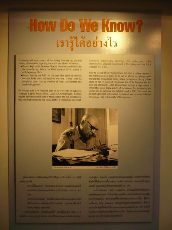 Thailand Birma Railway Centre in Kanchanaburi Thailand (TBRC): paneel gewijd aan Karel Warmenhoven  Foto: Gerard de Bruijn en Will de Bruijn-Janssen. Met dank aan Terry Manttan, directeur van het TBRC