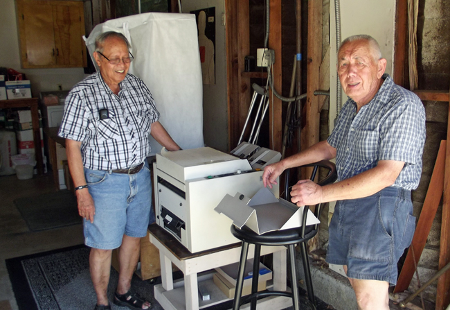 René Creutzburg and Kees Kunstt: two Indo veterans in Creutzburg's garage annex printing office in Walnut, California Photo by Humphrey de la Croix