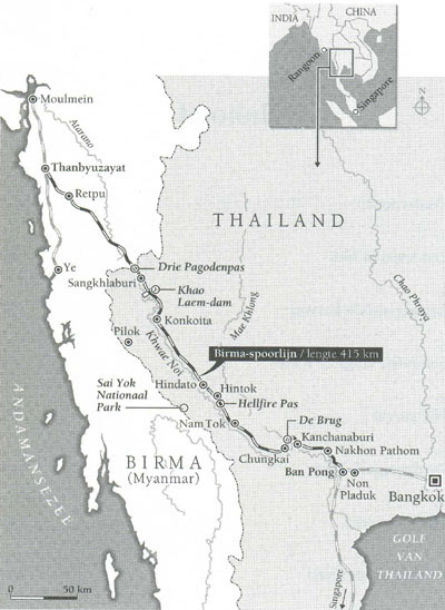 Bron kaart: Tony van der Meulen, Dansen op de Kwai. Het leven na de Birma-spoorweg. Amsterdam/Antwerpen 2003.